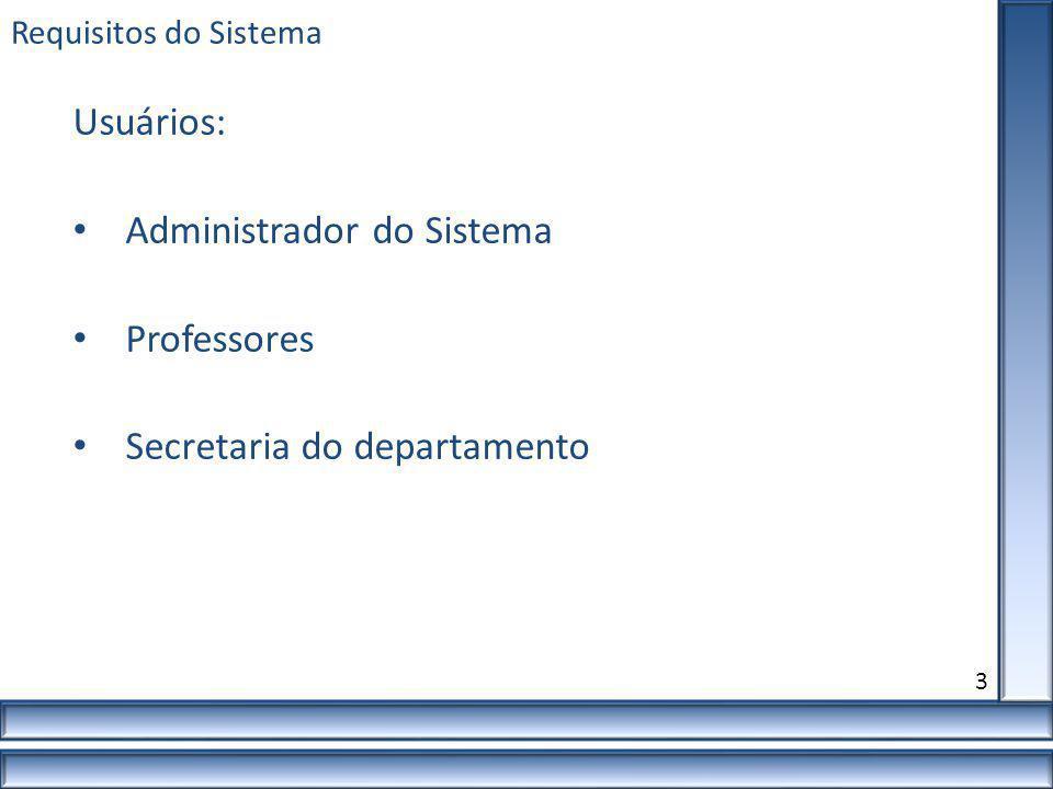Administrador do Sistema Professores Secretaria do departamento