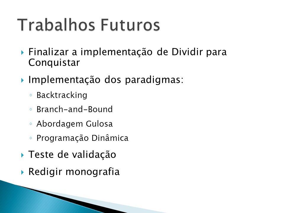 Trabalhos Futuros Finalizar a implementação de Dividir para Conquistar