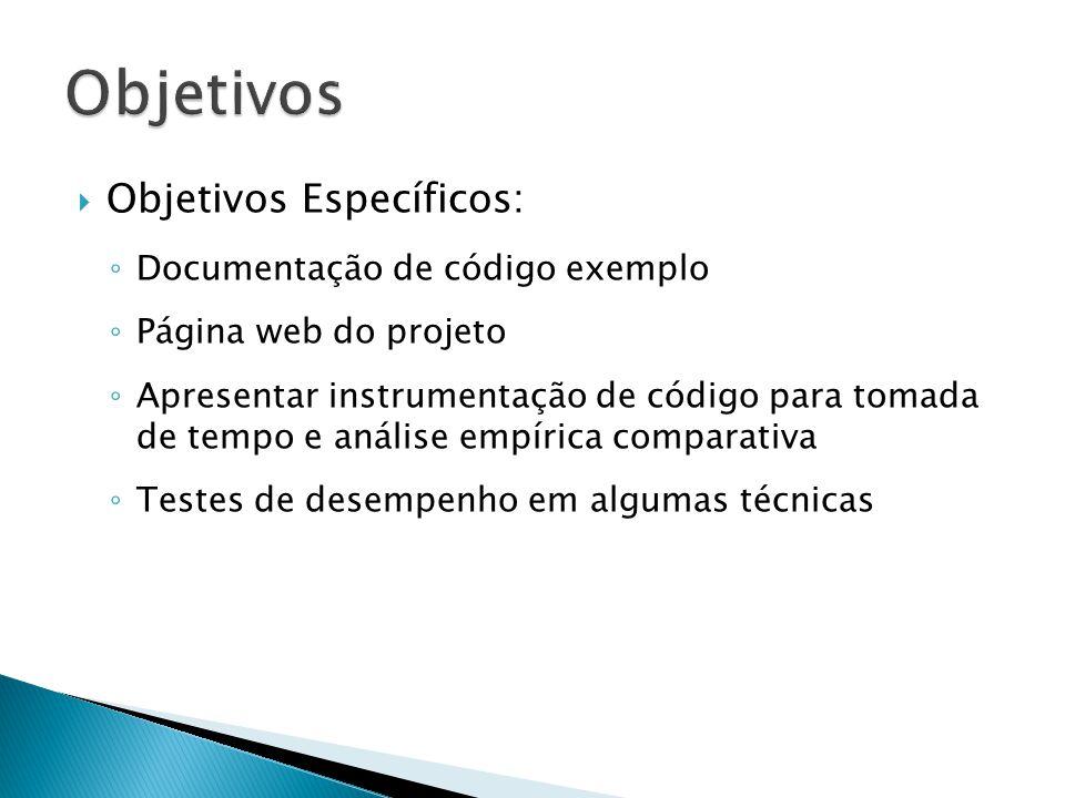 Objetivos Objetivos Específicos: Documentação de código exemplo