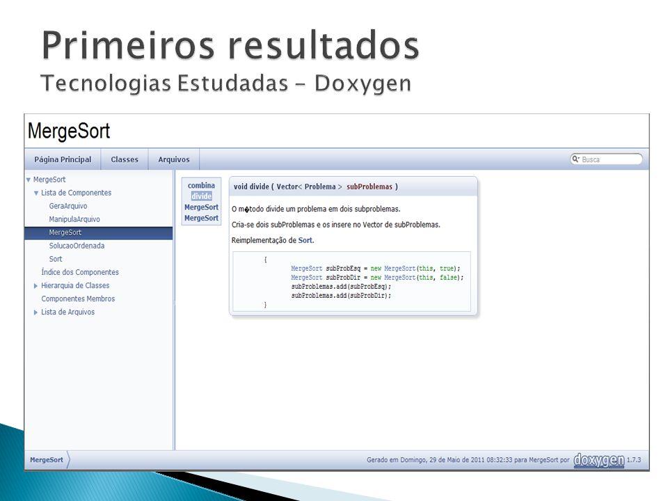 Primeiros resultados Tecnologias Estudadas - Doxygen