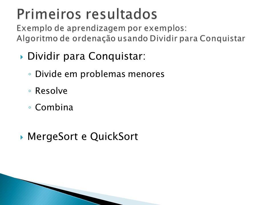 Primeiros resultados Exemplo de aprendizagem por exemplos: Algoritmo de ordenação usando Dividir para Conquistar