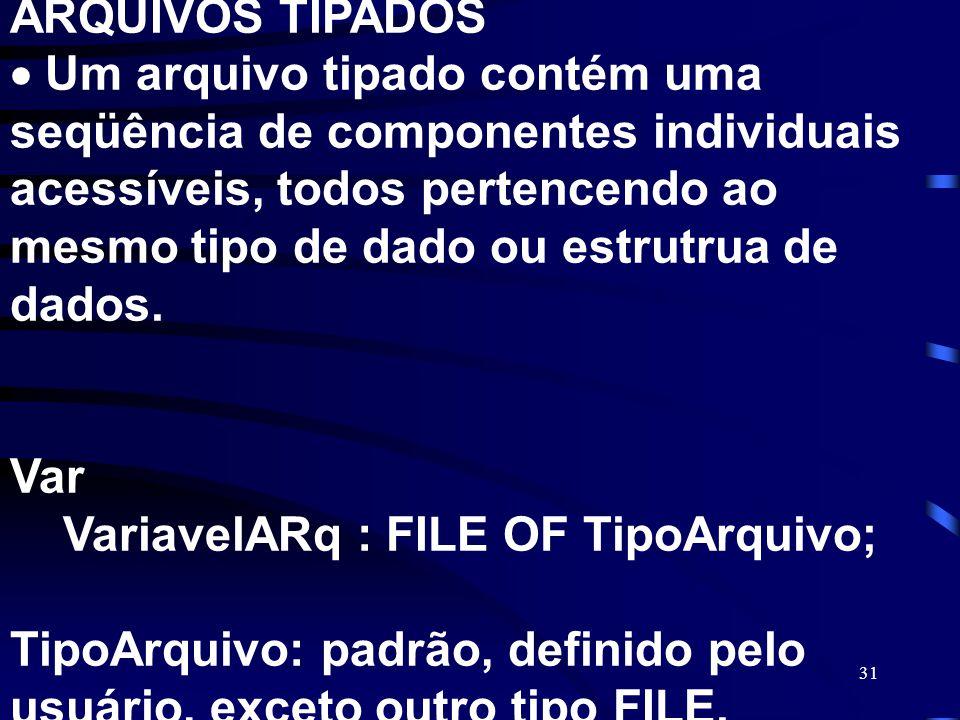 ARQUIVOS TIPADOS  Um arquivo tipado contém uma seqüência de componentes individuais acessíveis, todos pertencendo ao mesmo tipo de dado ou estrutrua de dados.