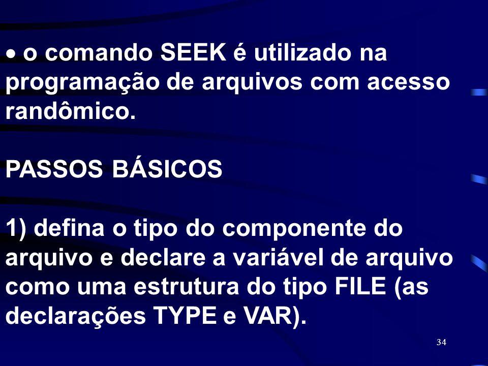  o comando SEEK é utilizado na programação de arquivos com acesso randômico.