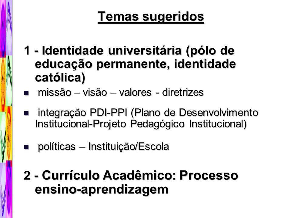 Temas sugeridos 1 - Identidade universitária (pólo de educação permanente, identidade católica) missão – visão – valores - diretrizes.