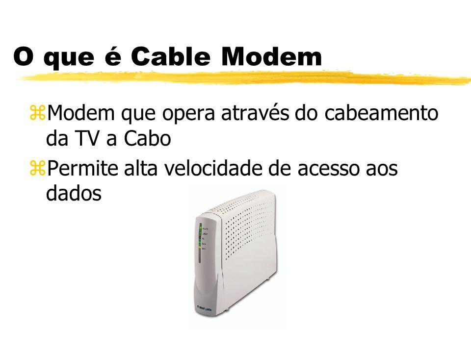 O que é Cable Modem Modem que opera através do cabeamento da TV a Cabo