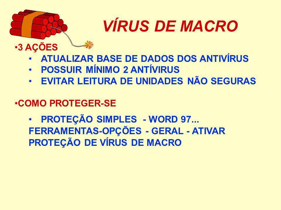 VÍRUS DE MACRO 3 AÇÕES ATUALIZAR BASE DE DADOS DOS ANTIVÍRUS