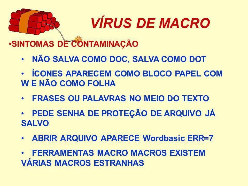 VÍRUS DE MACRO SINTOMAS DE CONTAMINAÇÃO
