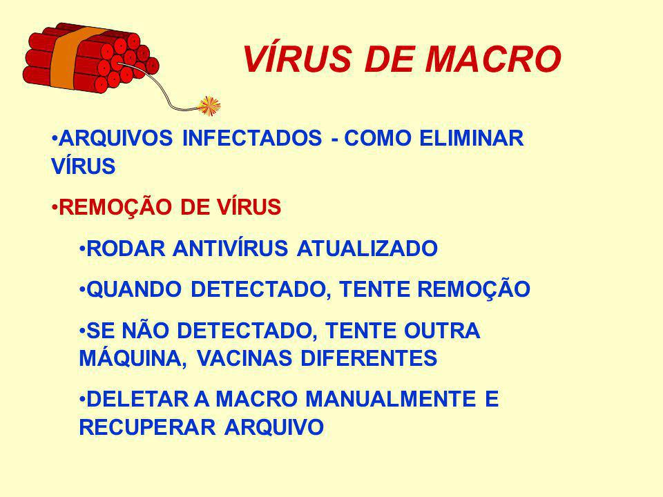 VÍRUS DE MACRO ARQUIVOS INFECTADOS - COMO ELIMINAR VÍRUS