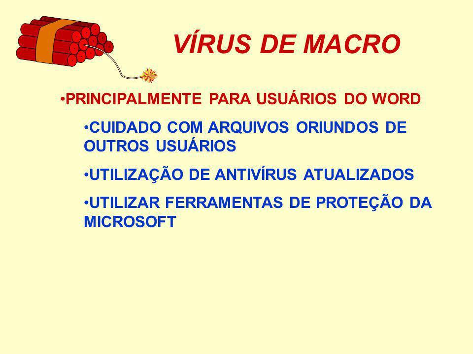 VÍRUS DE MACRO PRINCIPALMENTE PARA USUÁRIOS DO WORD