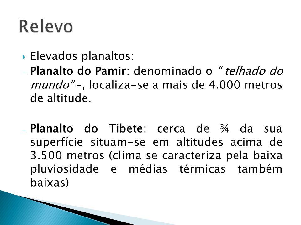 Relevo Elevados planaltos: