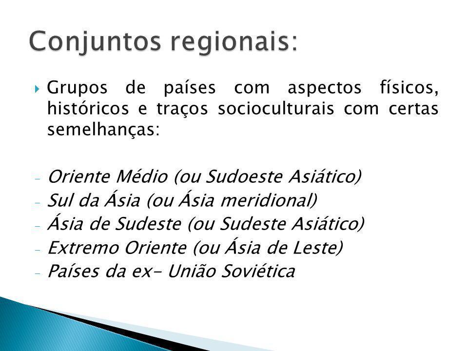 Conjuntos regionais: Grupos de países com aspectos físicos, históricos e traços socioculturais com certas semelhanças: