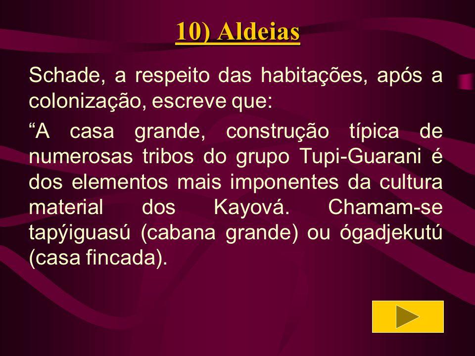 10) Aldeias Schade, a respeito das habitações, após a colonização, escreve que: