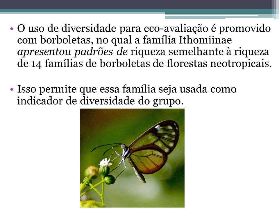 O uso de diversidade para eco-avaliação é promovido com borboletas, no qual a família Ithomiinae apresentou padrões de riqueza semelhante à riqueza de 14 famílias de borboletas de florestas neotropicais.