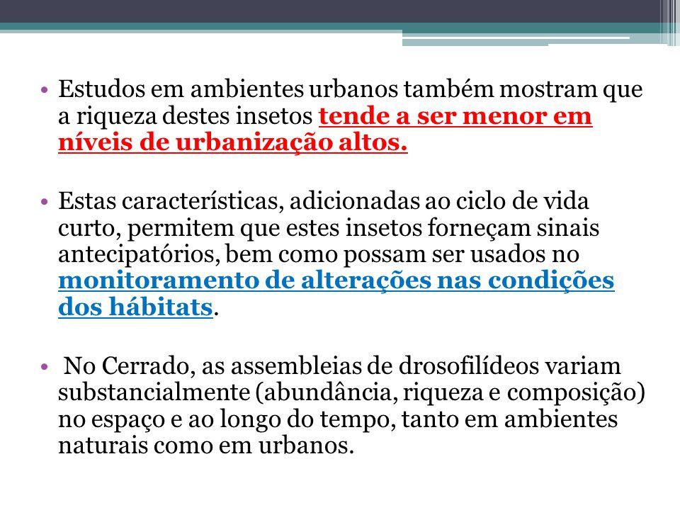 Estudos em ambientes urbanos também mostram que a riqueza destes insetos tende a ser menor em níveis de urbanização altos.