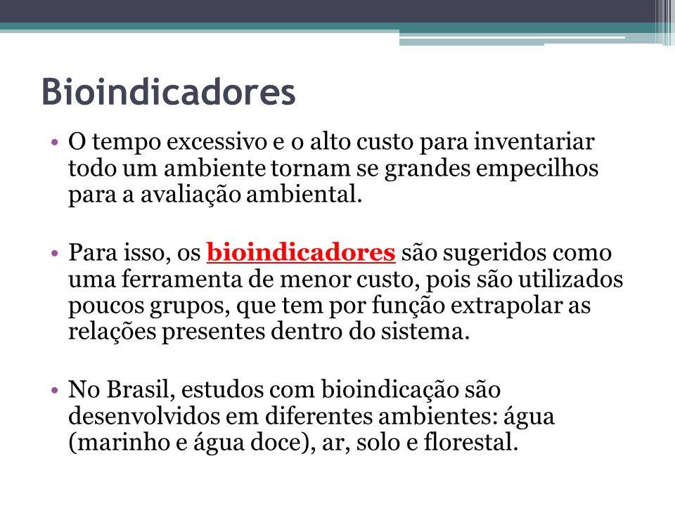 Bioindicadores O tempo excessivo e o alto custo para inventariar todo um ambiente tornam se grandes empecilhos para a avaliação ambiental.