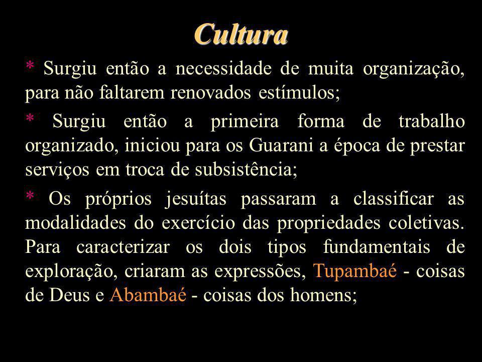 Cultura * Surgiu então a necessidade de muita organização, para não faltarem renovados estímulos;