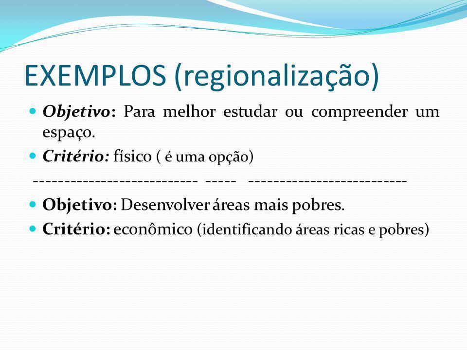 EXEMPLOS (regionalização)