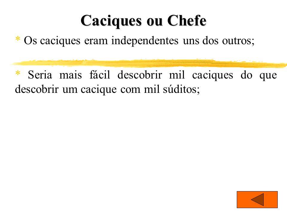 Caciques ou Chefe * Os caciques eram independentes uns dos outros;