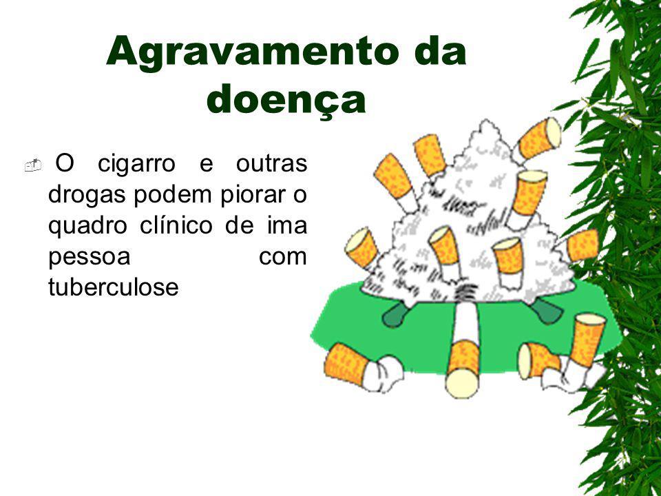 Agravamento da doença O cigarro e outras drogas podem piorar o quadro clínico de ima pessoa com tuberculose.