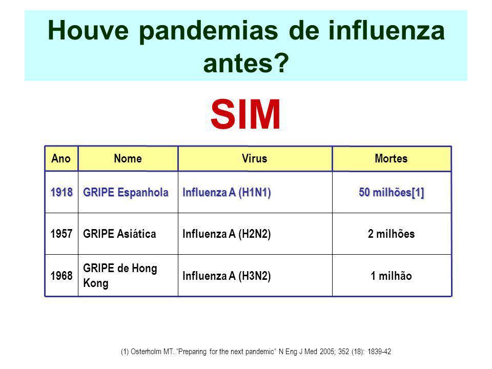 Houve pandemias de influenza antes