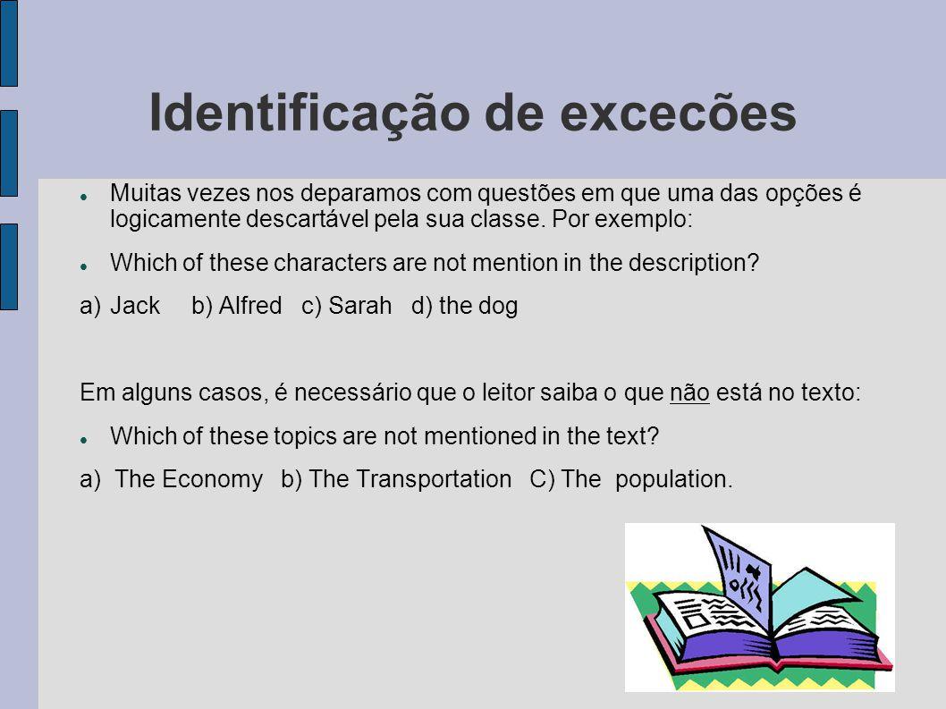 Identificação de excecões