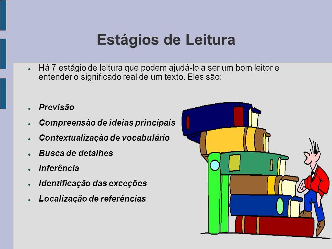 Estágios de Leitura Há 7 estágio de leitura que podem ajudá-lo a ser um bom leitor e entender o significado real de um texto. Eles são: