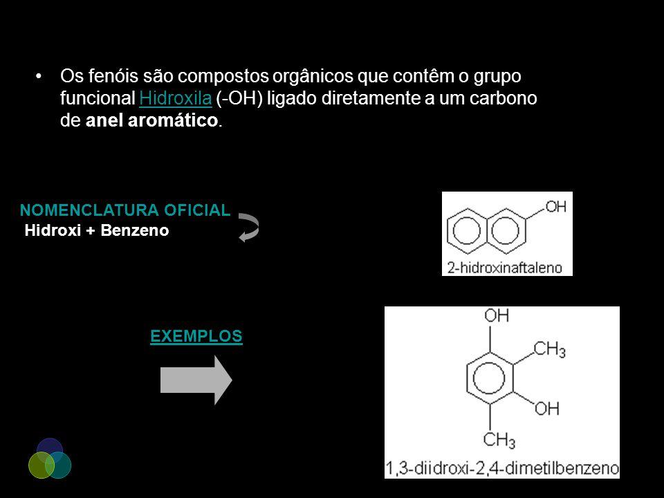 Os fenóis são compostos orgânicos que contêm o grupo funcional Hidroxila (-OH) ligado diretamente a um carbono de anel aromático.