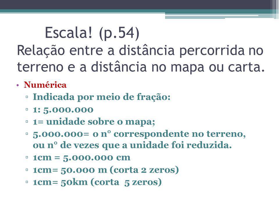 Escala! (p.54) Relação entre a distância percorrida no terreno e a distância no mapa ou carta.