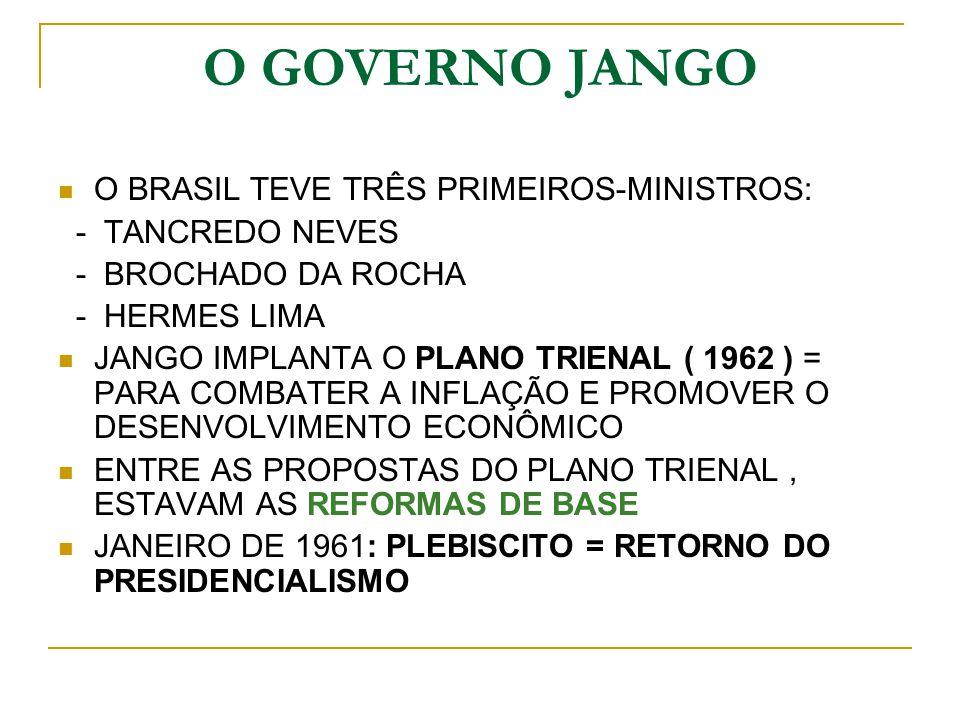 O GOVERNO JANGO O BRASIL TEVE TRÊS PRIMEIROS-MINISTROS: