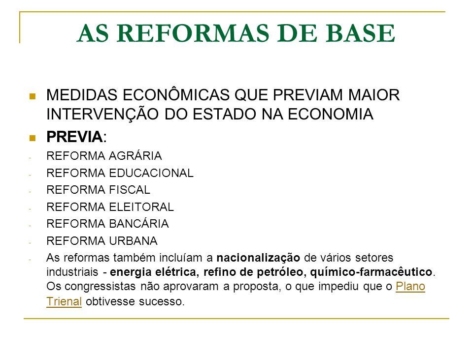 AS REFORMAS DE BASE MEDIDAS ECONÔMICAS QUE PREVIAM MAIOR INTERVENÇÃO DO ESTADO NA ECONOMIA. PREVIA: