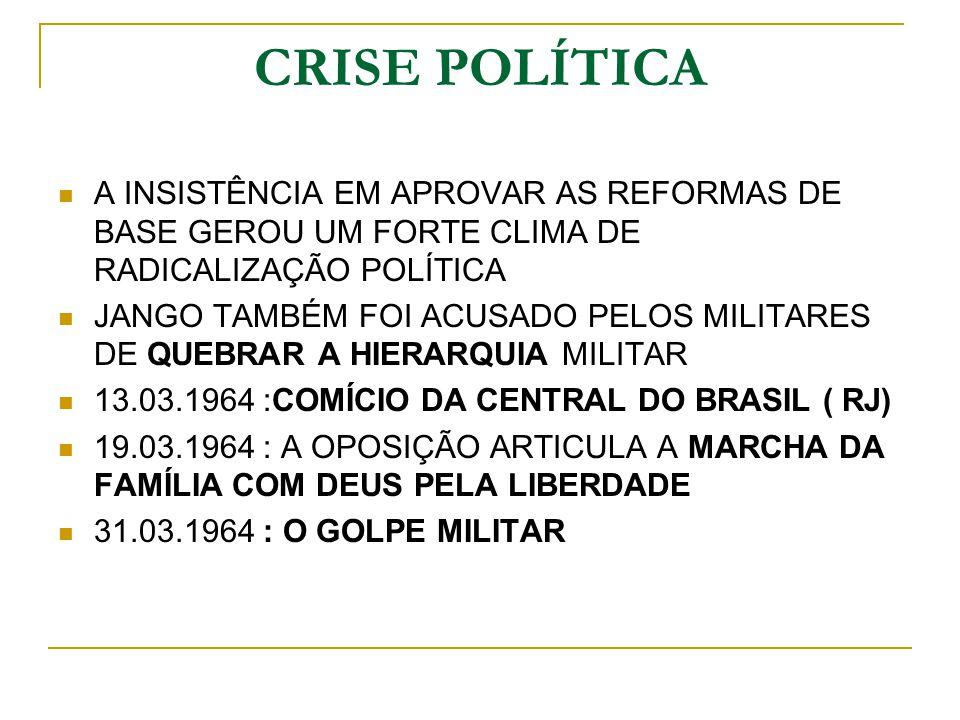 CRISE POLÍTICA A INSISTÊNCIA EM APROVAR AS REFORMAS DE BASE GEROU UM FORTE CLIMA DE RADICALIZAÇÃO POLÍTICA.