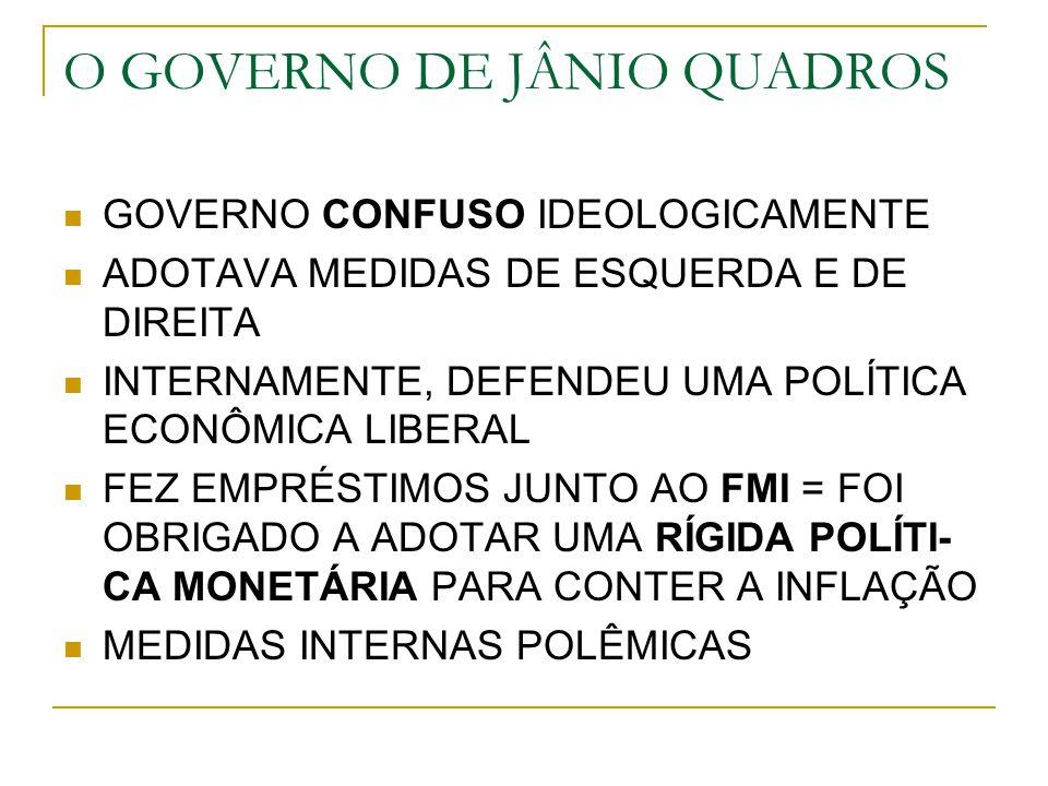 O GOVERNO DE JÂNIO QUADROS