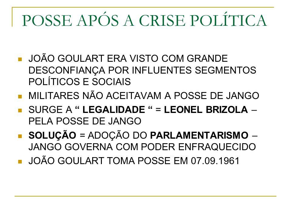 POSSE APÓS A CRISE POLÍTICA