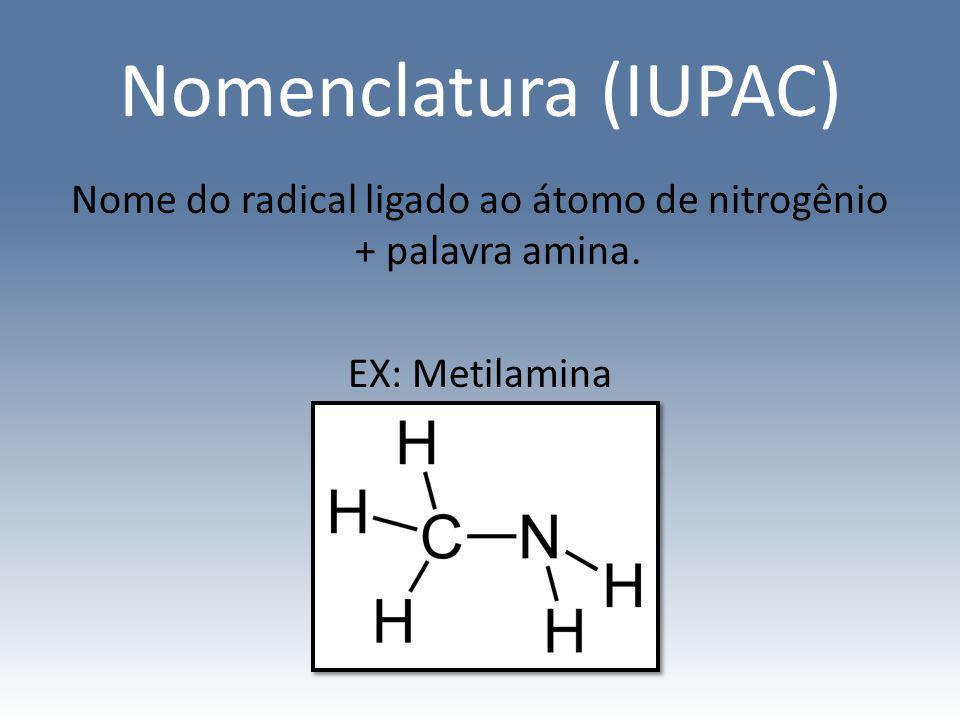 Nome do radical ligado ao átomo de nitrogênio + palavra amina.