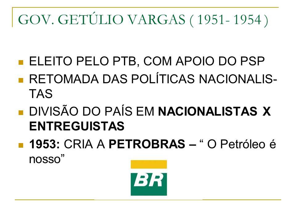 GOV. GETÚLIO VARGAS ( 1951- 1954 ) ELEITO PELO PTB, COM APOIO DO PSP