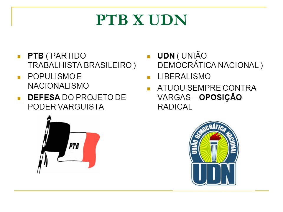 PTB X UDN PTB ( PARTIDO TRABALHISTA BRASILEIRO )