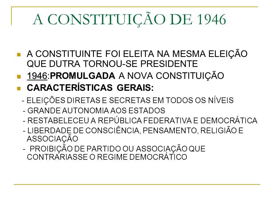 A CONSTITUIÇÃO DE 1946 A CONSTITUINTE FOI ELEITA NA MESMA ELEIÇÃO QUE DUTRA TORNOU-SE PRESIDENTE. 1946:PROMULGADA A NOVA CONSTITUIÇÃO.