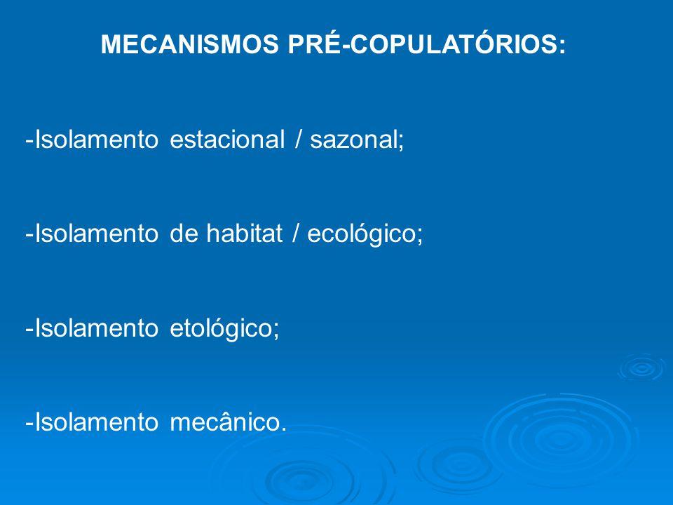 MECANISMOS PRÉ-COPULATÓRIOS: