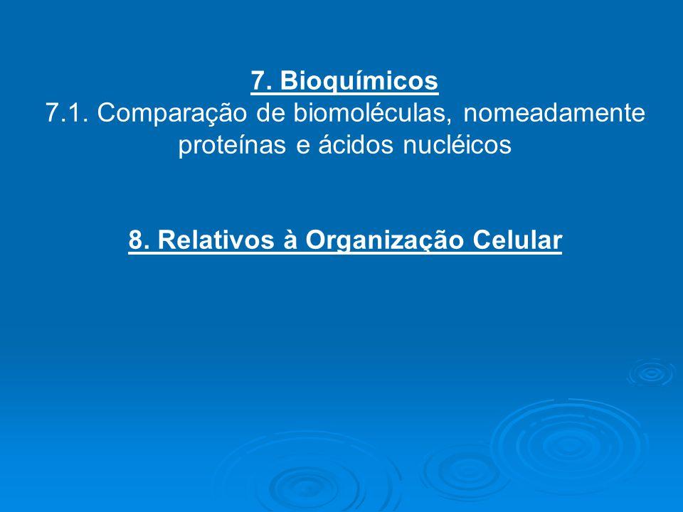 8. Relativos à Organização Celular