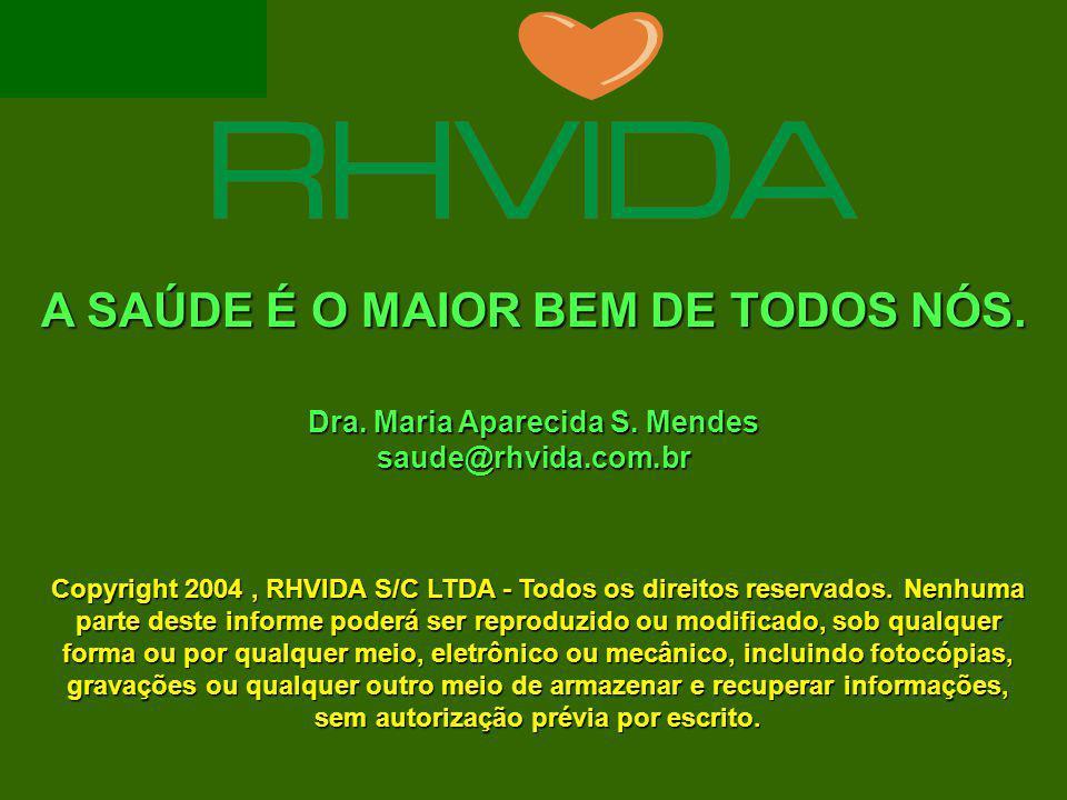 A SAÚDE É O MAIOR BEM DE TODOS NÓS. Dra. Maria Aparecida S. Mendes