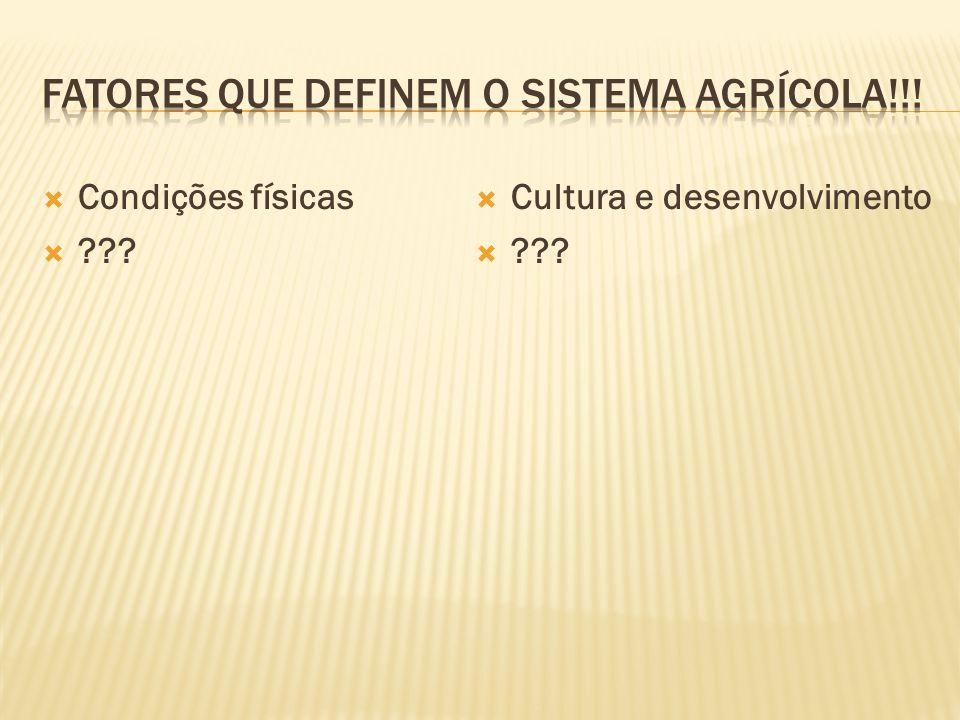 Fatores que definem o sistema agrícola!!!