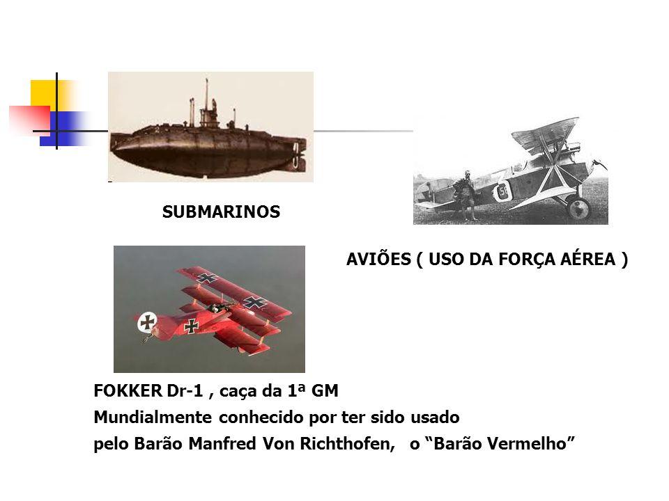 SUBMARINOS AVIÕES ( USO DA FORÇA AÉREA ) FOKKER Dr-1 , caça da 1ª GM. Mundialmente conhecido por ter sido usado.