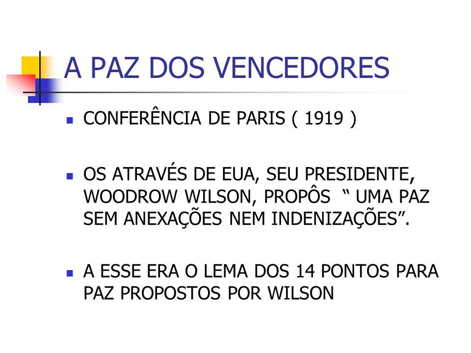 A PAZ DOS VENCEDORES CONFERÊNCIA DE PARIS ( 1919 )