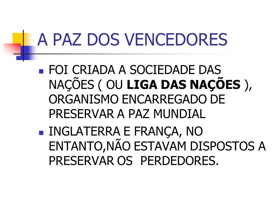 A PAZ DOS VENCEDORES FOI CRIADA A SOCIEDADE DAS NAÇÕES ( OU LIGA DAS NAÇÕES ), ORGANISMO ENCARREGADO DE PRESERVAR A PAZ MUNDIAL.