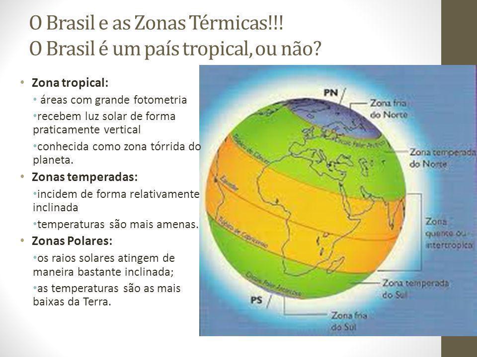 O Brasil e as Zonas Térmicas!!! O Brasil é um país tropical, ou não