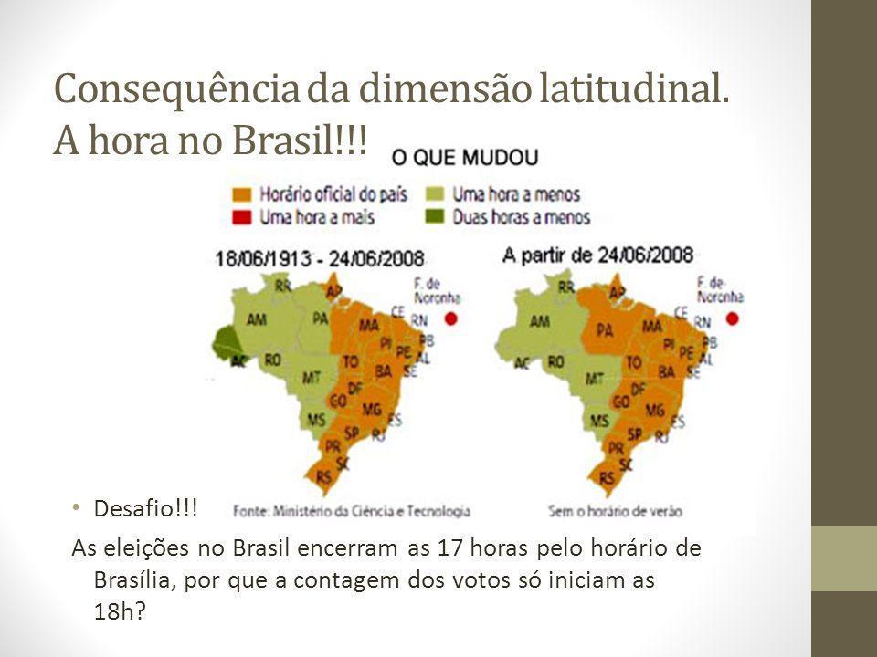 Consequência da dimensão latitudinal. A hora no Brasil!!!