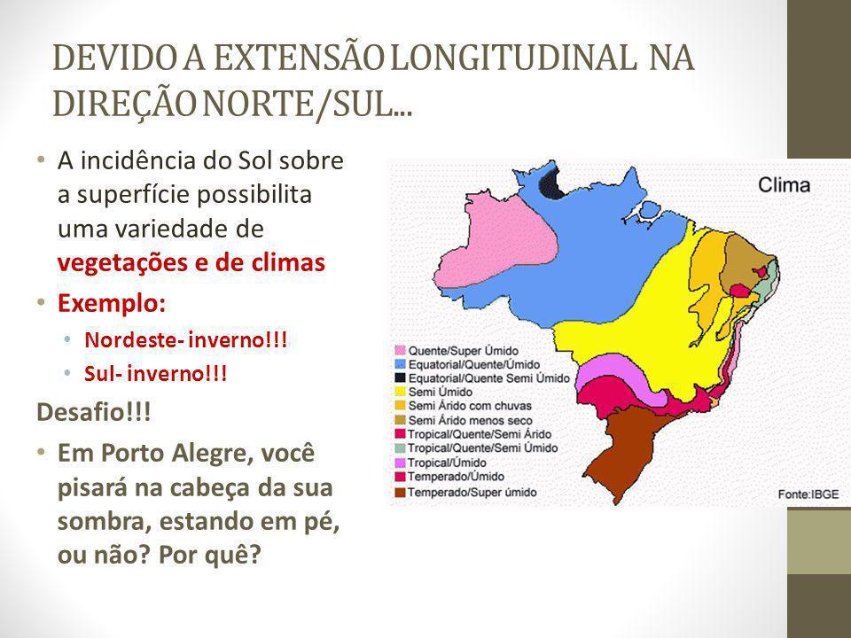 DEVIDO A EXTENSÃO LONGITUDINAL NA DIREÇÃO NORTE/SUL...