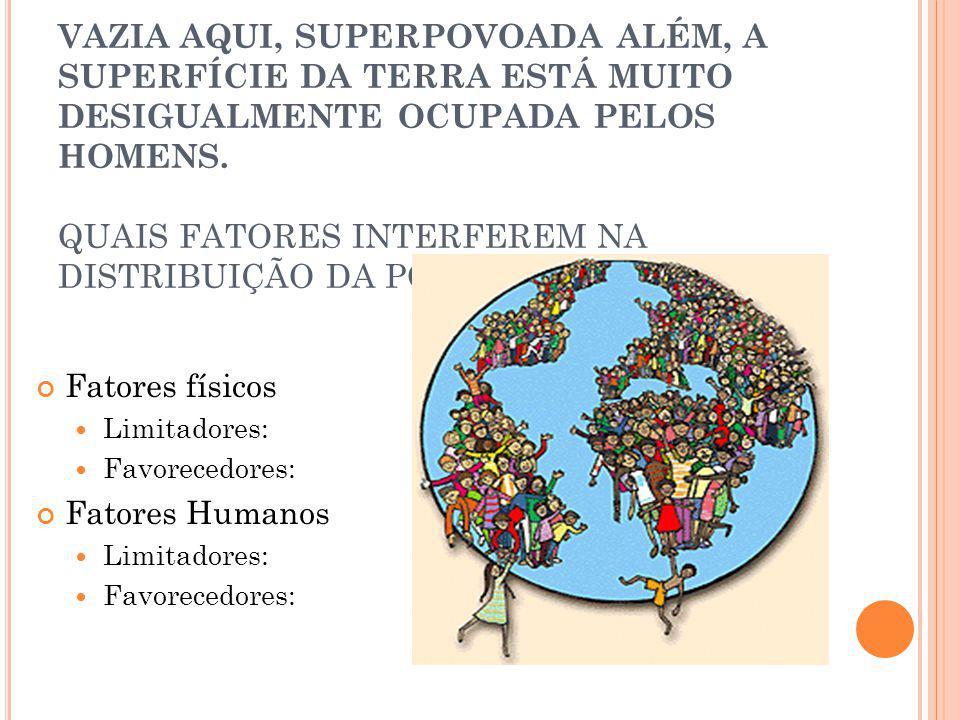 VAZIA AQUI, SUPERPOVOADA ALÉM, A SUPERFÍCIE DA TERRA ESTÁ MUITO DESIGUALMENTE OCUPADA PELOS HOMENS. QUAIS FATORES INTERFEREM NA DISTRIBUIÇÃO DA POPULAÇÃO MUNDIAL
