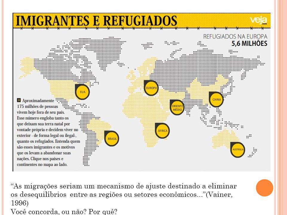 As migrações seriam um mecanismo de ajuste destinado a eliminar os desequilíbrios entre as regiões ou setores econômicos... (Vainer, 1996)