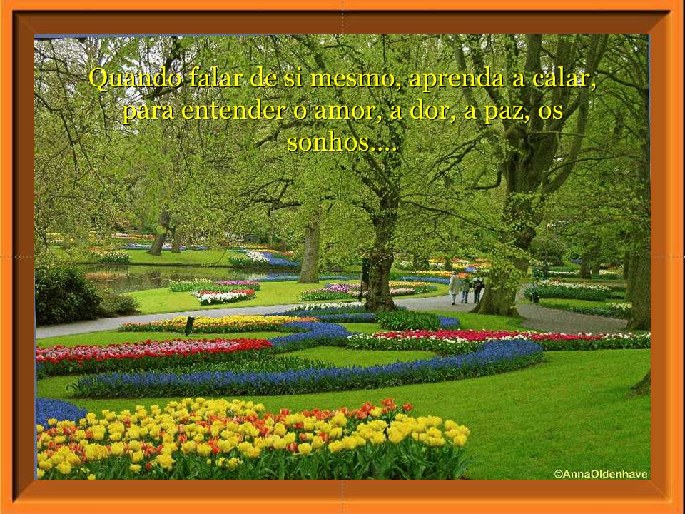 Quando falar de si mesmo, aprenda a calar, para entender o amor, a dor, a paz, os sonhos....